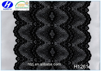 Hongtai new style high quality elastic black jacquard lace fabric
