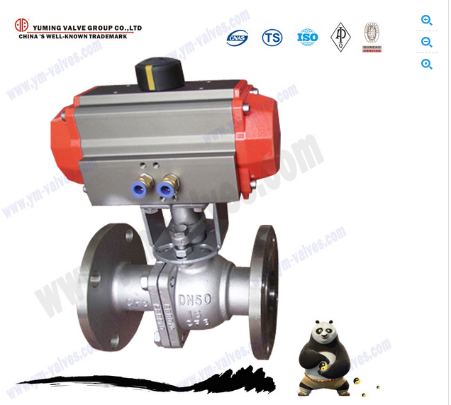 Hot sale 2PC flanged ends cf8m stainless steel pneumatic actuator ball valves