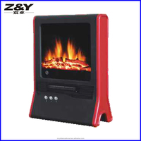 PTC Oscillating Fireplace Heater with Flame Effect