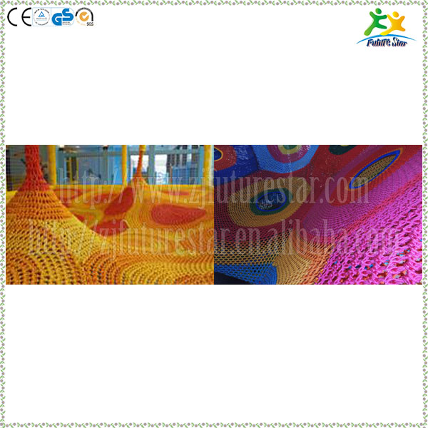 Optional colorful nylon rope hand crochet trampoline in kids indoor playground project
