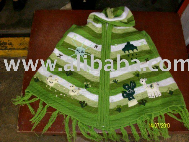 BOYS CHILDREN PONCHO WITH APPLICATIONS