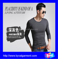 100% cotton mens long sleeve o-neck custom design fashion breathable fabric t shirt