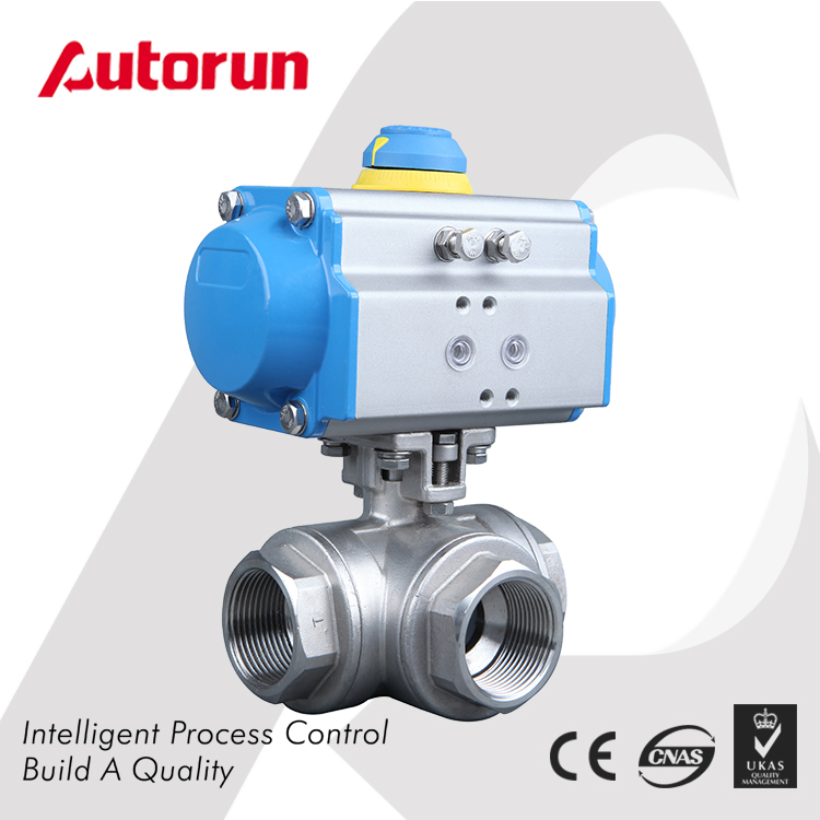 Pneumatic 3 way thread ball valve factory price