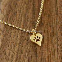 2015 Newest Silver Heart Necklace With Paw Prints Fashion Silver Dog Footprints Heart Shape Necklace