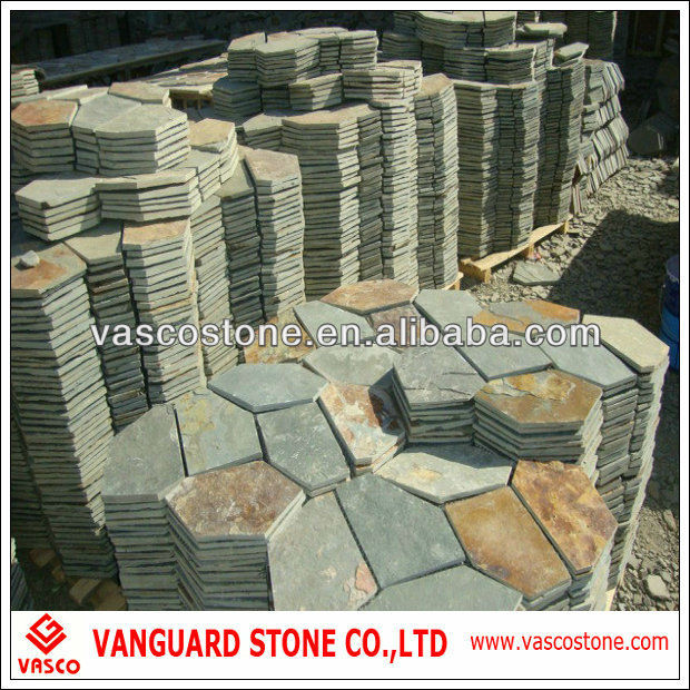 Crazy pave, natural slate paving stone, irregular shaped slate stone wholesaler price