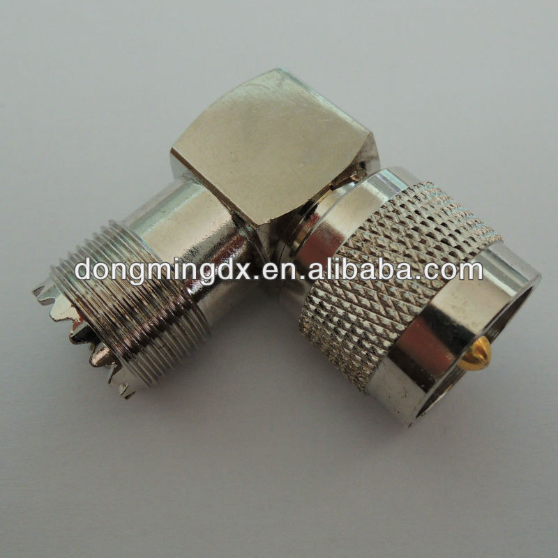RF adapter UHF male to UHF female right angle coaxial connector