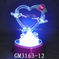 Heart Shape LED Glass Material Wedding Table Decoration