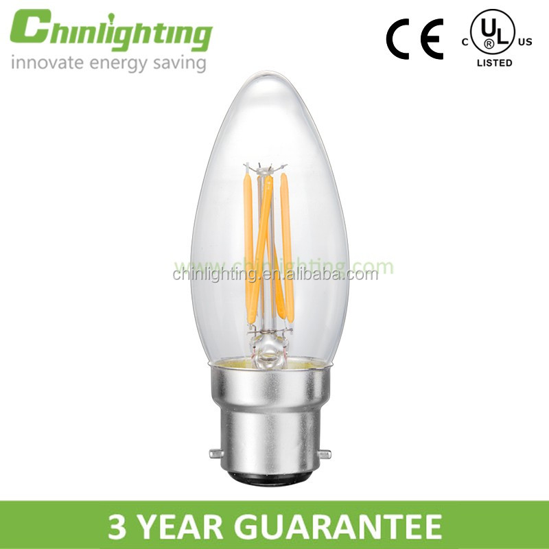 High Brightness long lifespan energy saving filament 3W 4w b22 E27 candelabra based light bulbs