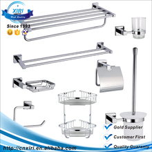 Xiri Sanitary Ware Brass Stainless Steel Bathroom Accessories Set Double Towel Bar Rack Hooks Paper Roll Holder Wholesale