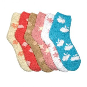 Women Cupcake Sock Winter Cozy Sleep Tube Socks Indoor Home blue ankle Fuzzy Socks