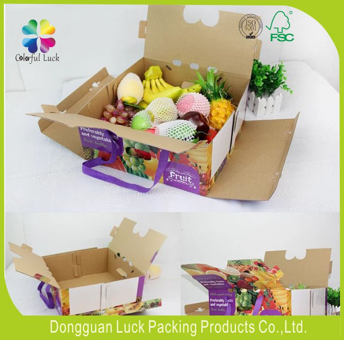 Wholesale Customized Colored Corrugated Fruit Carton Boxes For Fruit & Vegetable Gift Packaging With Rope Handles