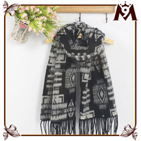 Fashion knitted pashmina scarf plaid desgin 100% wool cashmere scarf with tassel