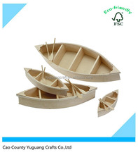 Unfinished Natural Wood Crafts Wood Boat with Oars Wood Canoe Cutout