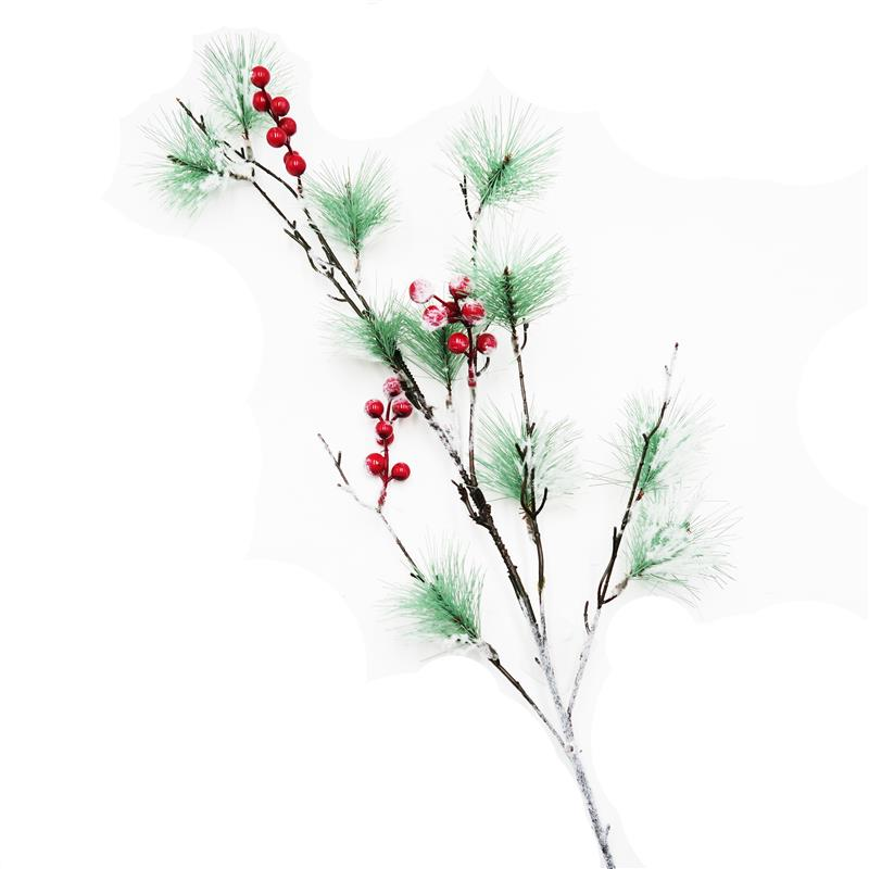 Christmas berry spray pine needle branch for christmas tree decoration