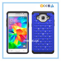 Hot selling glitter diamond crystal silicone case hard pc cover for samsung galaxy grand on