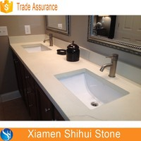 Starlight Grey Quartz Prefab Bathroom Basin Table Top Sink Countertop