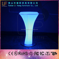 Remote Control round party high top cocktail tables Rechargeable plastic led glowing furniture LED Cocktail Table