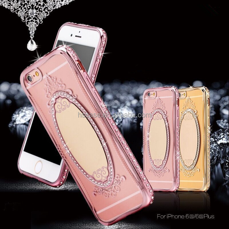 2 Colors Rhinestone bumper Luxury Mirror Plating Phone Case for <strong>iphone</strong> 7 7 plus 6 6 plus