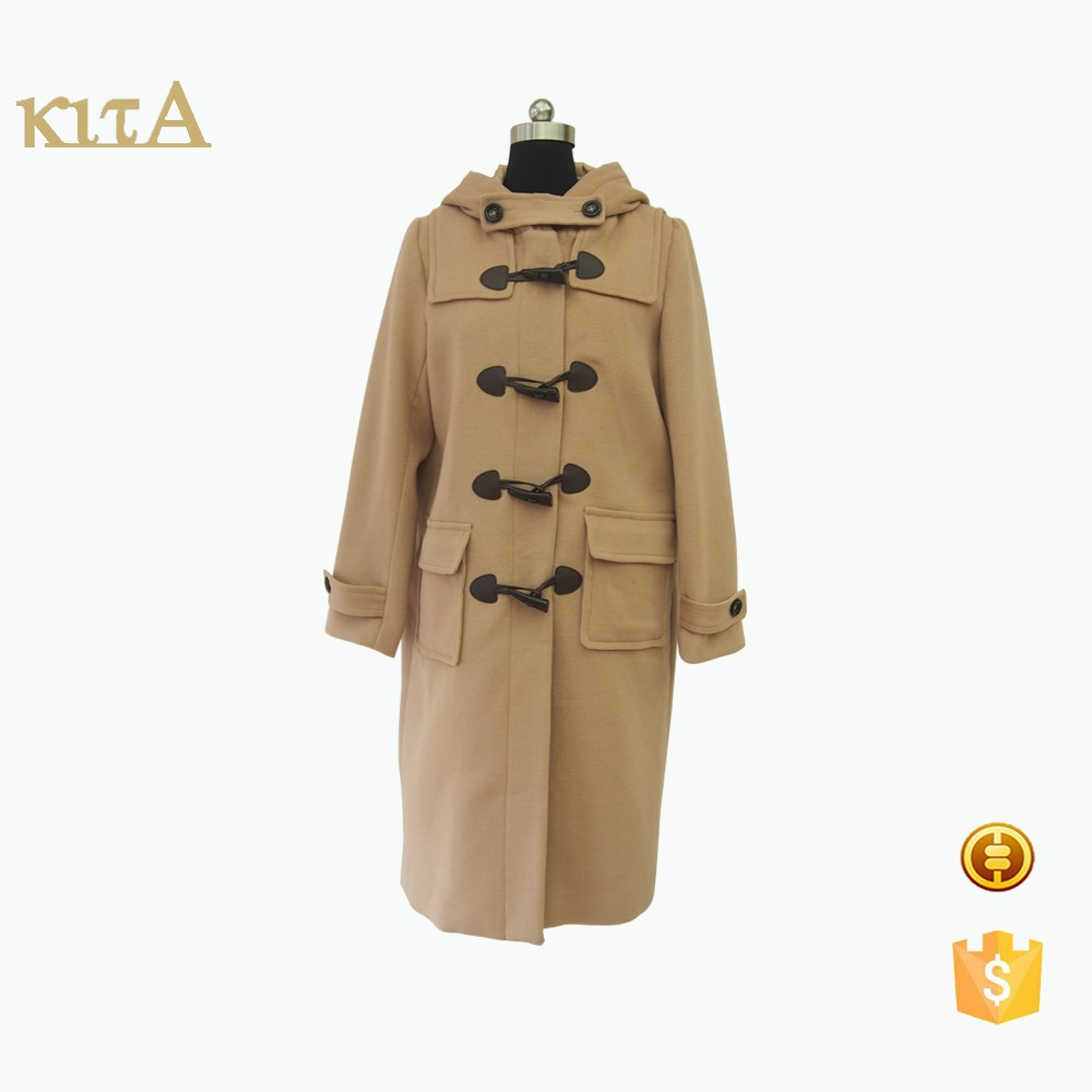 Fashion women hooded long wool blend duffel coat
