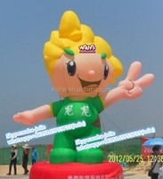 Promotional inflatable mascot/custom/cartoon/Boy/yellow/Green/5M