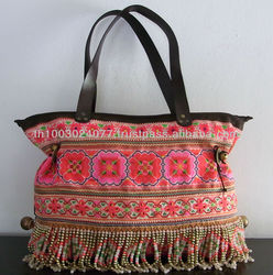 Colorful Hmong Baby Carrier Turned Tote Handbag