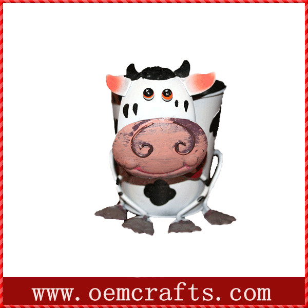 Lovely cow outdoor ceramic hand seed garden planter