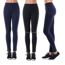 Ladies Leggings 95% Cotton 5% Spandex Plain Fold Over Waist Cotton Blend Yoga Leggings Korean Fitness Warm Tights