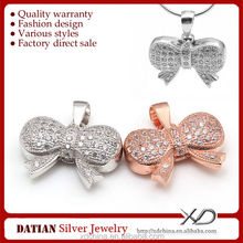 XD P789 Micro pave cz stones bow knot charms 925 sterling <strong>silver</strong> made with plated rose gold pendant