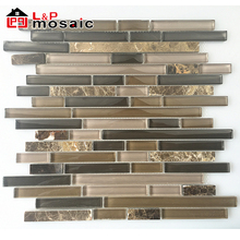 2018 USA Hot Sale Retailer choice style selection linear glass mix stone mosaic tile for kitchen and bathroom