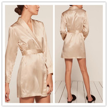 High Quality Silk Satin Wrapped Mini Dress Women Hot Sexy Sleep Dress