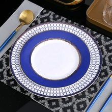 European bone china dinnerware set 8inch 10inch blue ceramic <strong>plates</strong> and dishes for hotel