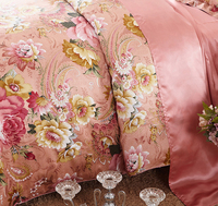 King size flowers printed luxury silk bedding set