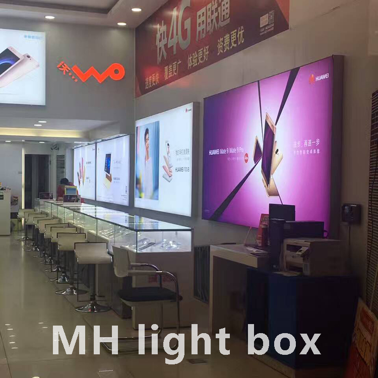 customized size exhibit display aluminum led light box, 3030 led light source,single side indoor light box
