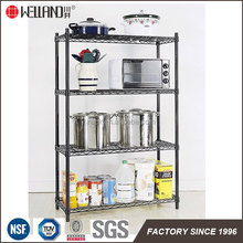 Black Epoxy Coated 4 Tiers Kitchen Cookware Storage Wire Shelving Rack , NSF Approval