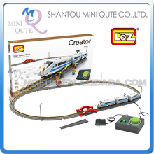 Mini Qute LOZ kawaii Electronic high-speed rail Train diamond block plastic cube building blocks bricks educational toy NO.9047