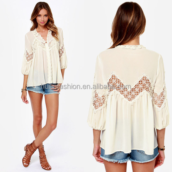 2015 Crocheted Dolman Top Fashion Women's Clothing Manufacturers in Turkey