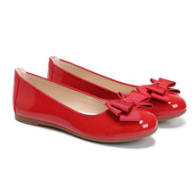 Hot sell red lady low cut round toe flat shoes