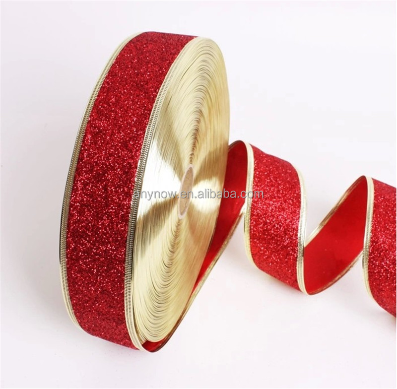 Luxury Multi-color Glitter Ribbon for wedding and Christmas decoration