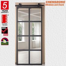 Automatic system aluminum interior sliding barn 4 panel internal french doors