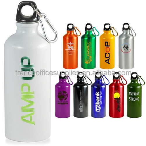 Plastic Sealed Carabiner Top 400ML Ultimate Screw Lid Aluminum Sports Bottle with Key Ring
