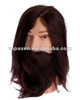 Cosmetology Bearded Mannequin Head Human Hair Used