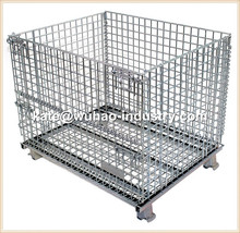 Heavy duty steel collapsible stackable folding steel pallet crate,wire container