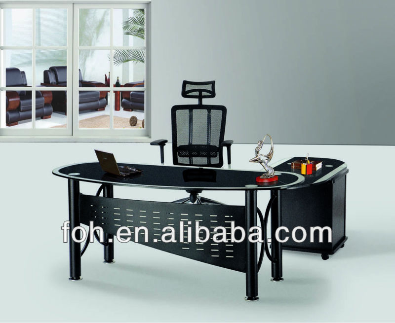 Modern Design Black Color Glass Executive Office Table- Manager office Desk ( FOHXL-116#)