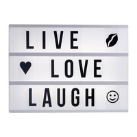 LIVE LOVE LAUGH A4 lightbox cinematic light box letter pack, battery operated & DC adapter charge