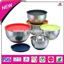 stainless steel serving bowl with color lids