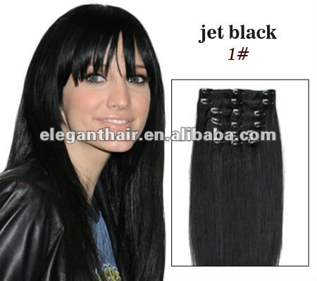 Jet black human hair clips in hair extension for black women