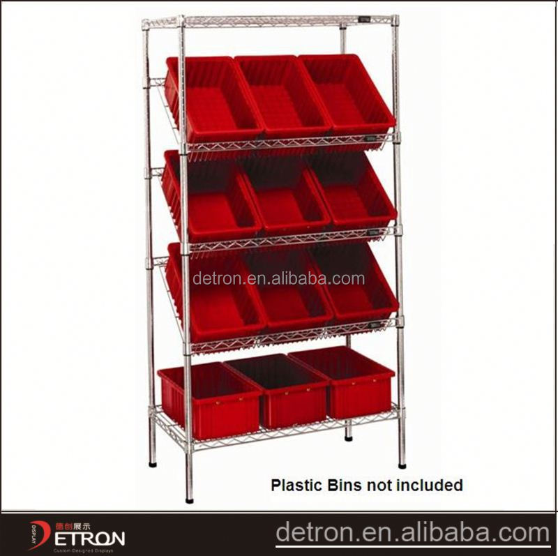 Durable adjustable inclined wire shelving