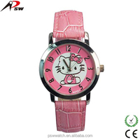 2015 New fashion watch for kids genuine leather child watch hello kitty leather watch