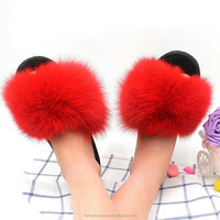 slide sandals 2017 luxury collection winter fashion women real fur fox fur slippers