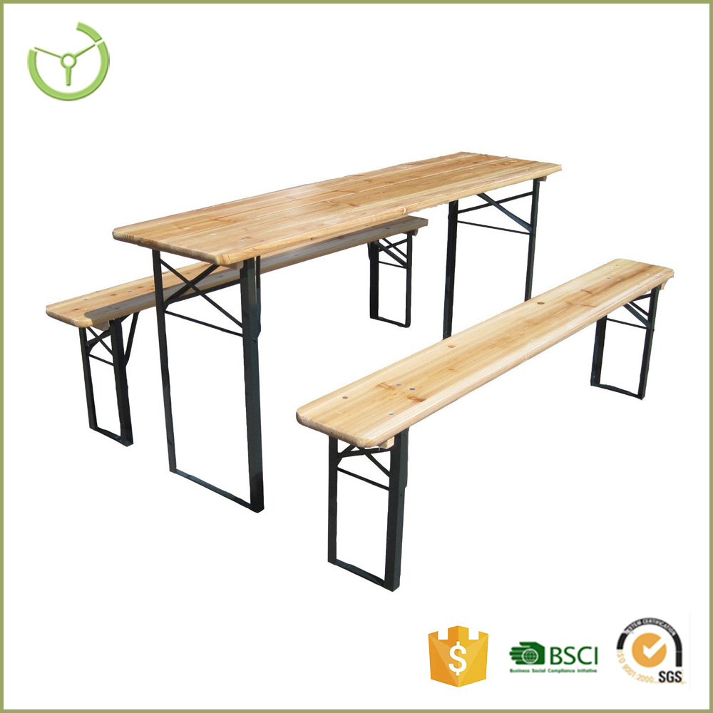 Quick set-up outdoor portable wooden garden beer table and bench set